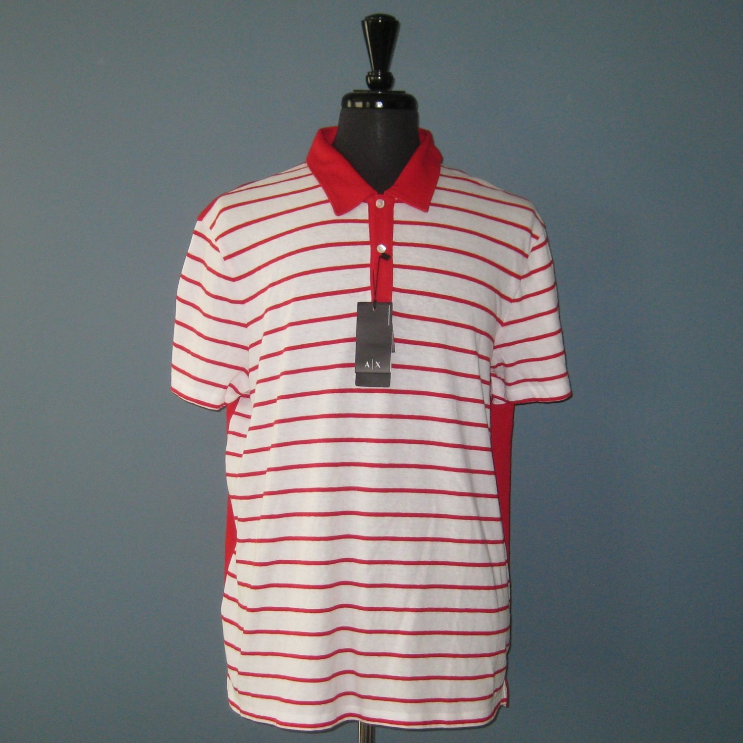 NWT A|X Armani Exchange Red & White Cotton Blend S/S Polo Pullover Shirt - XXL