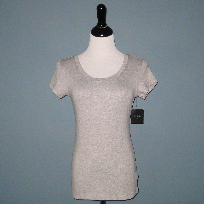 NWT Cynthia Rowley Heathered Gray Scoop Neck Modal Blend T-Shirt - XS