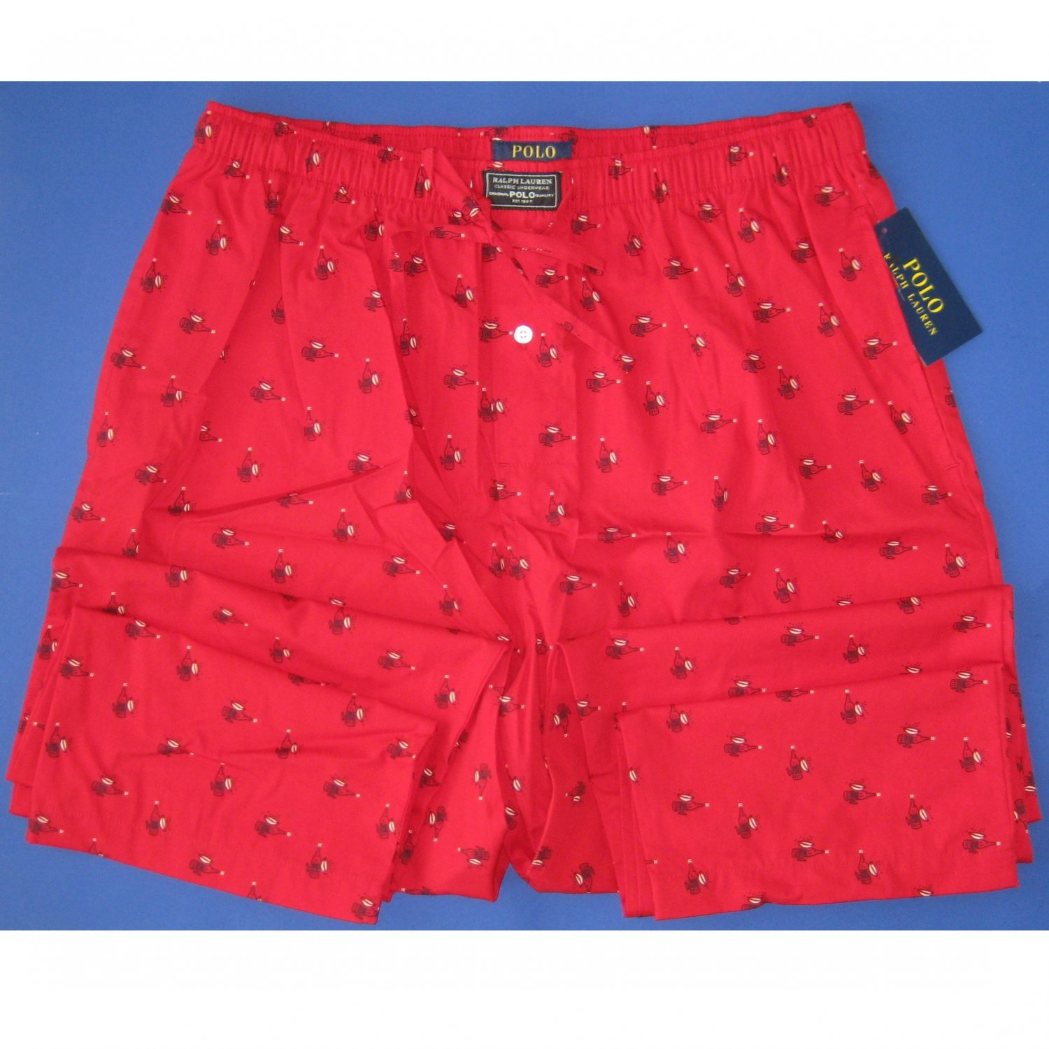NWT Polo Ralph Lauren 100% Woven Cotton Red Allover Champagne Print Pajama Lounge Pants - L