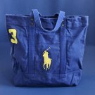NWT Polo Ralph Lauren Royal Blue Big Pony Zip Cotton Canvas Tote Bag - Unisex