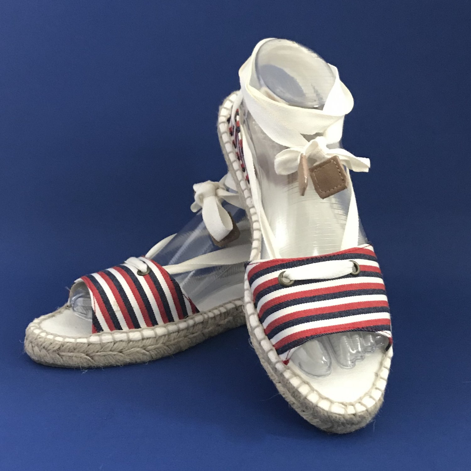 NIB Brooks Brothers Red White & Blue Striped Canvas Open Toe Espadrille Sandals - 9