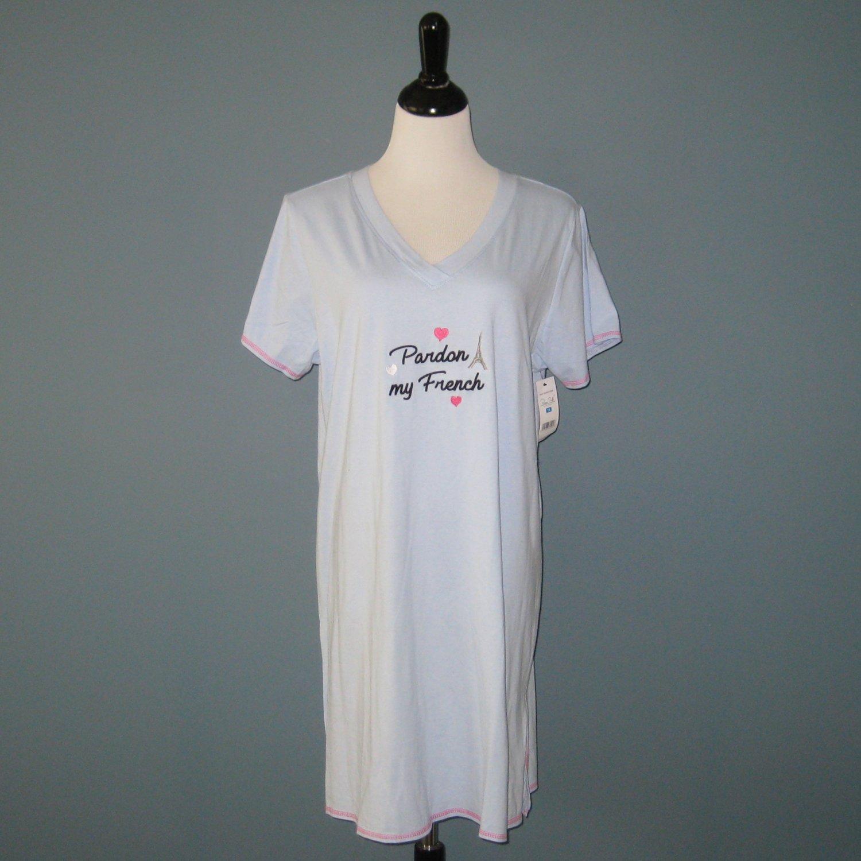 NWT René Rofé Blue 'Pardon My French' Cotton Graphic Tee Sleep Shirt Nightshirt Nightgown - 1X