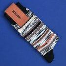 NWT Missoni Cotton Blend Brown Multi Wavy Stripe Men's Dress Socks - L