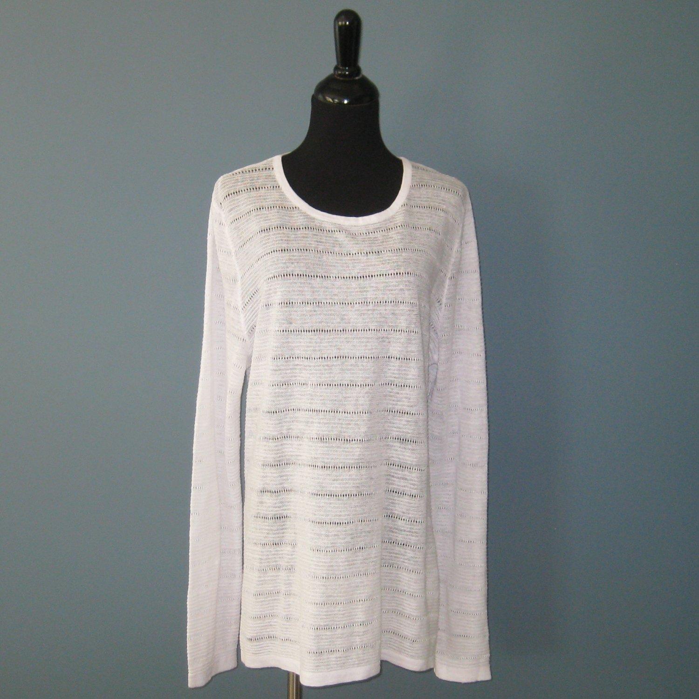 NWT Cynthia Rowley White 100% Linen V-Neck Long Sleeve Pullover Top - XL