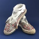 NIB Brooks Brothers Canvas White & Red Floral Ankle Strap Espadrilles - 9B