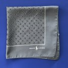 NWT Polo Ralph Lauren Grey Geometric Print 100% Silk Handkerchief Pocket Square