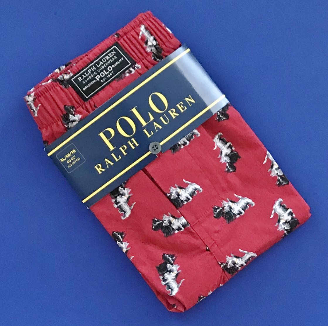 NWT Polo Ralph Lauren Red Scottish Terrier Dog Print Cotton Classic Fit Button Front Boxer - S