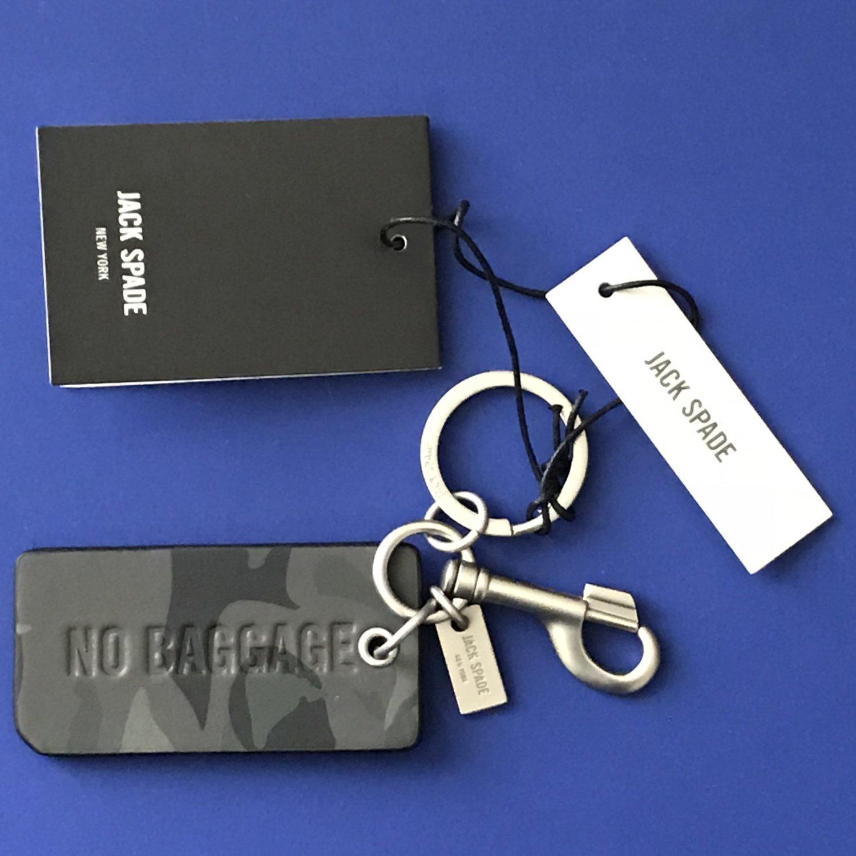 NWT Jack Spade Leather No Baggage Camo Split O-Ring & Bolt Snap Key Chain Fob
