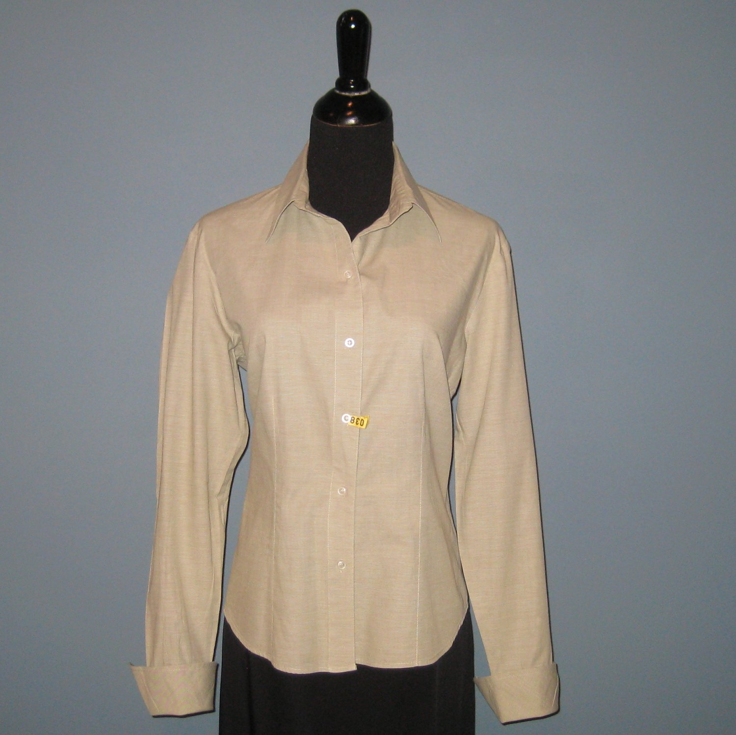 Pre-Owned harvé benard Green 100% Cotton Fitted L/S Shirt Blouse - L