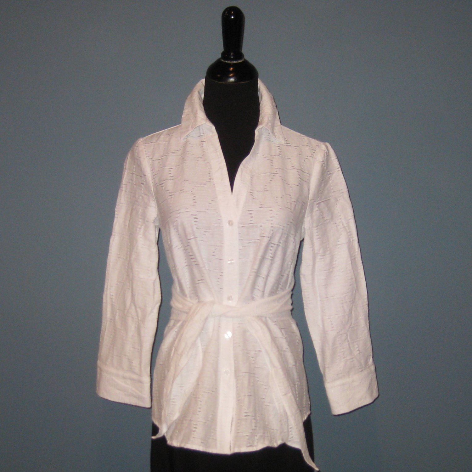 Pre-Owned Peter Nygard White Cotton Blend Self Tie 3/4 Sleeve Blouse - 4P