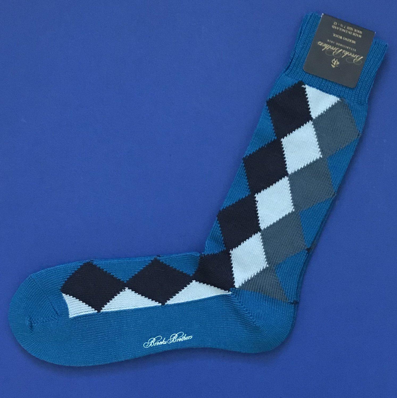 NWT Brooks Brothers Blue Wool Diamond Pattern Knit Trouser Dress Socks