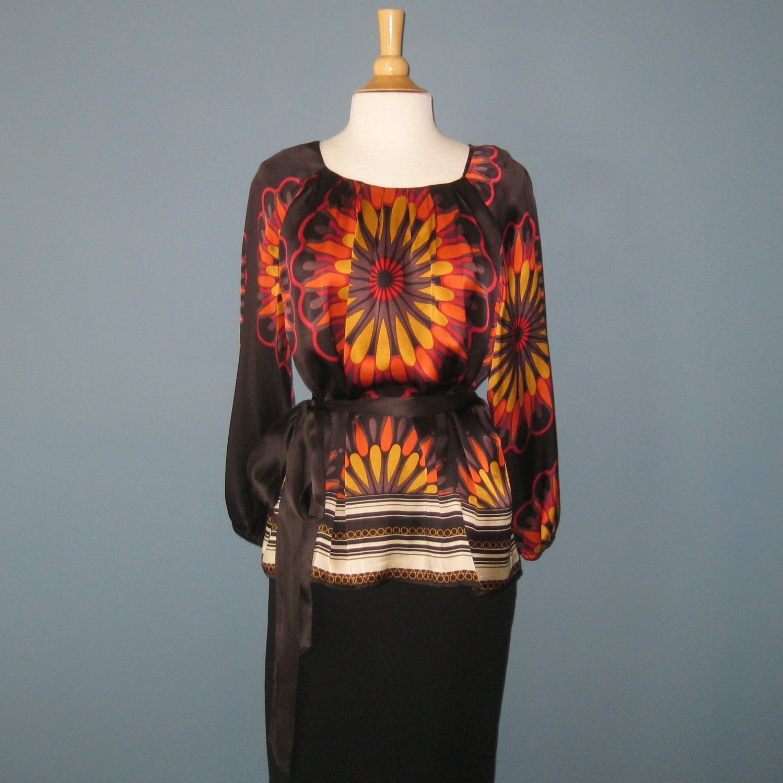 Pre-Owned Peter Nygard 100% Silk Brown Multi Boho Tunic Blouse - 14