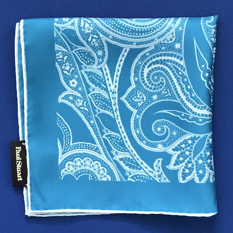 NEW Paul Stuart Turquoise & Ivory Paisley Print Handkerchief Pocket Square