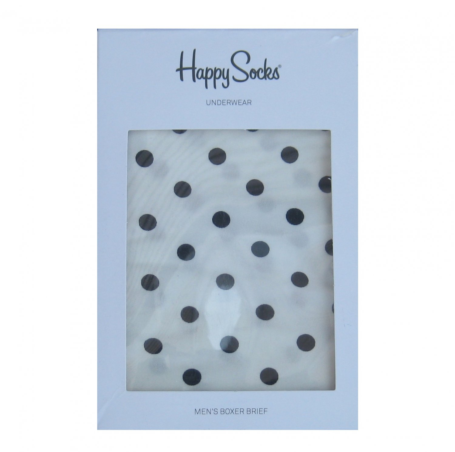 NIB Happy Socks White w/Black Polka Dots Cotton Stretch Boxer Brief - L