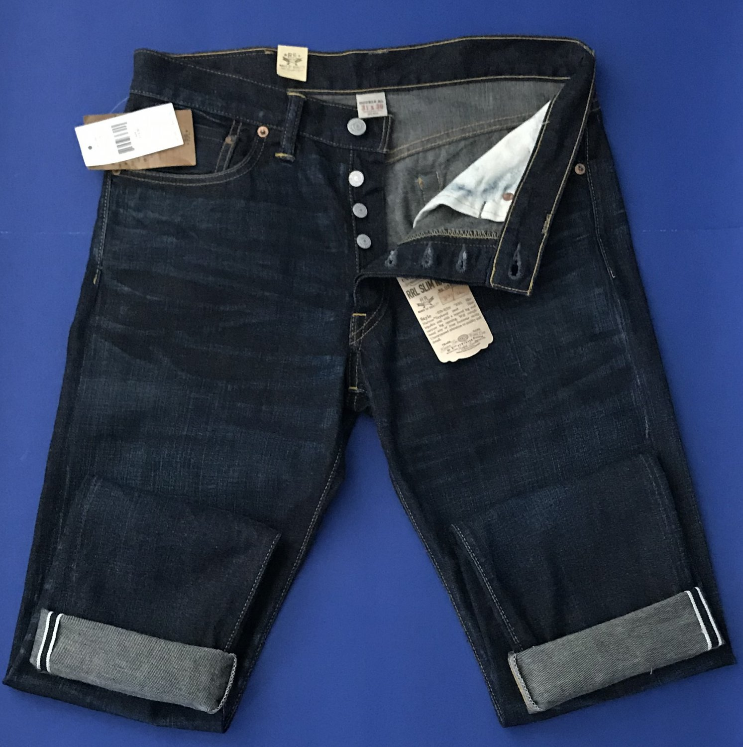 NWT Ralph Lauren Double RL RRL Slim Narrow Dark Wash Selvedge Jeans - 31x30