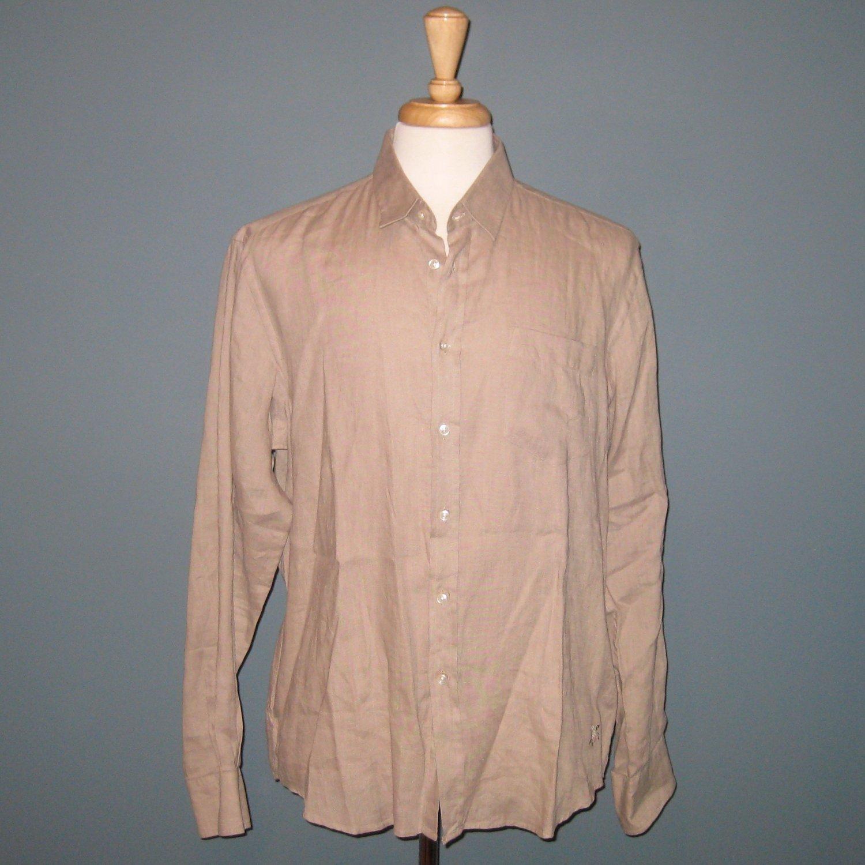 NWT Vilebrequin 100% Linen Tan Beige Button Front Long Sleeve Shirt - XL