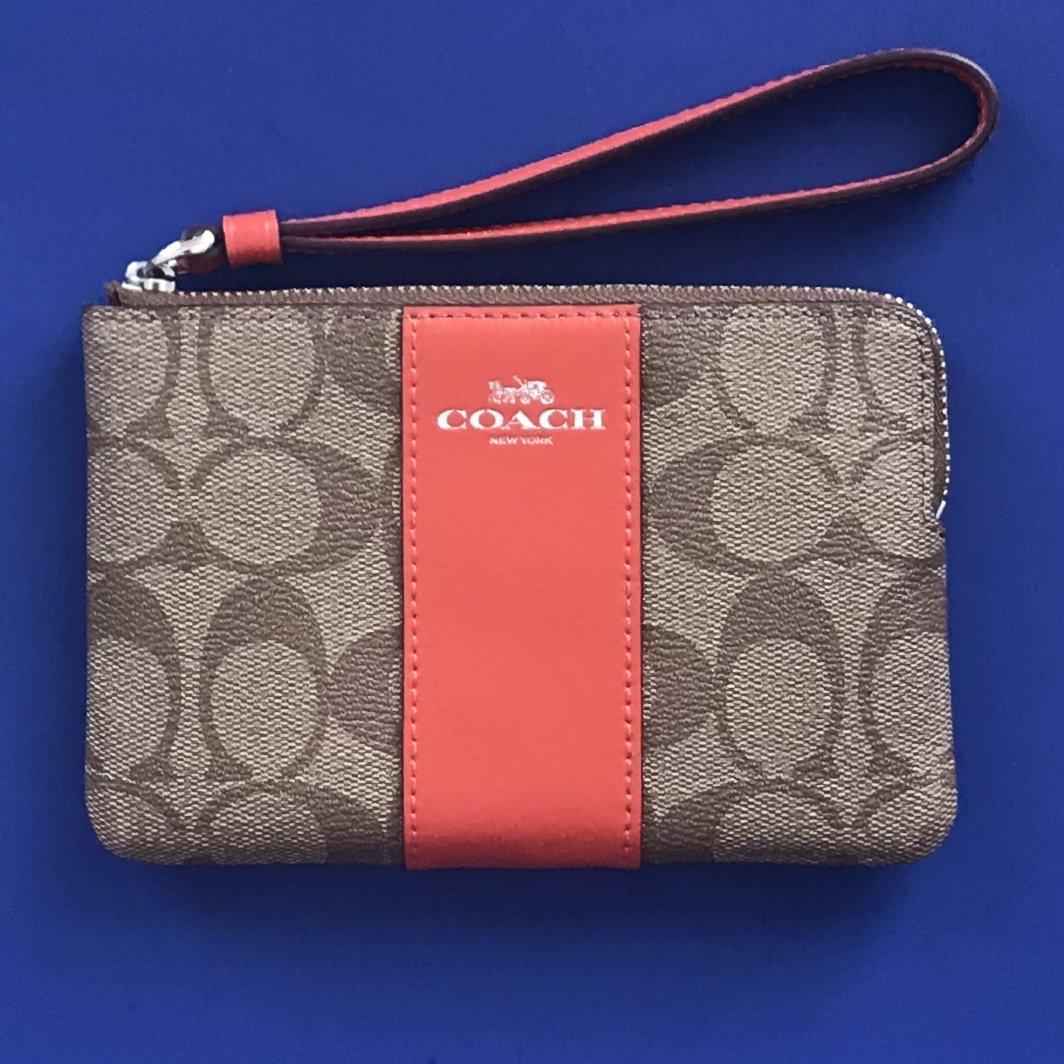 NWT Coach Signature C Coated Canvas Khaki/Orange Red Corner Zip Wristlet Clutch Wallet Case #F58035