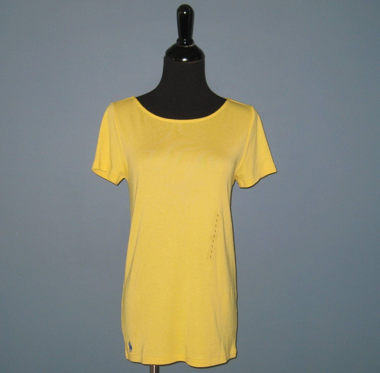 NWT Ralph Lauren Sport Oasis Yellow Cotton Boat Neck S/S Tee Shirt T-shirt Top - L