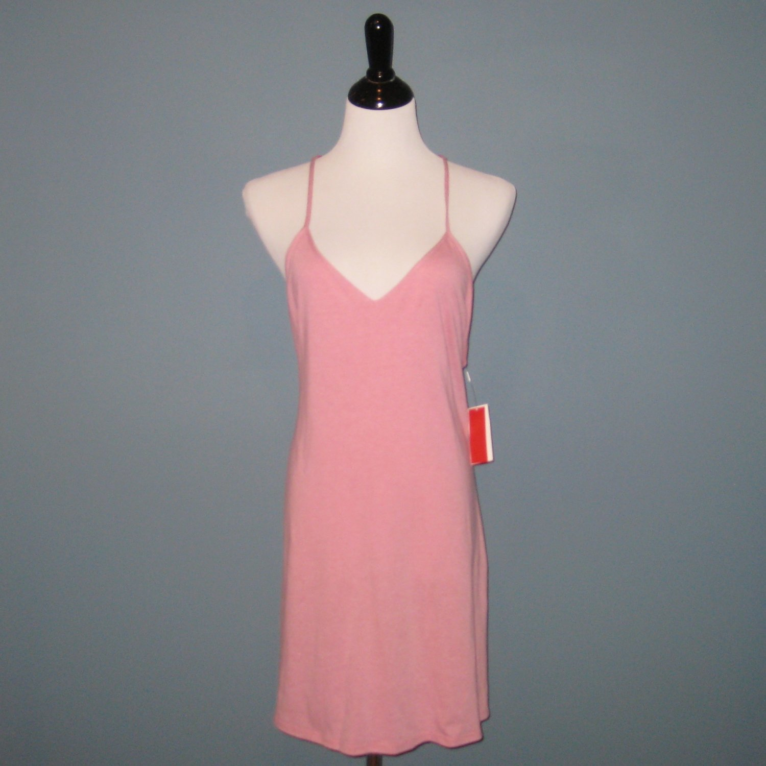 NWT Josie Easy Breezy Cotton Blend Lace T-Back Pink Chemise - L