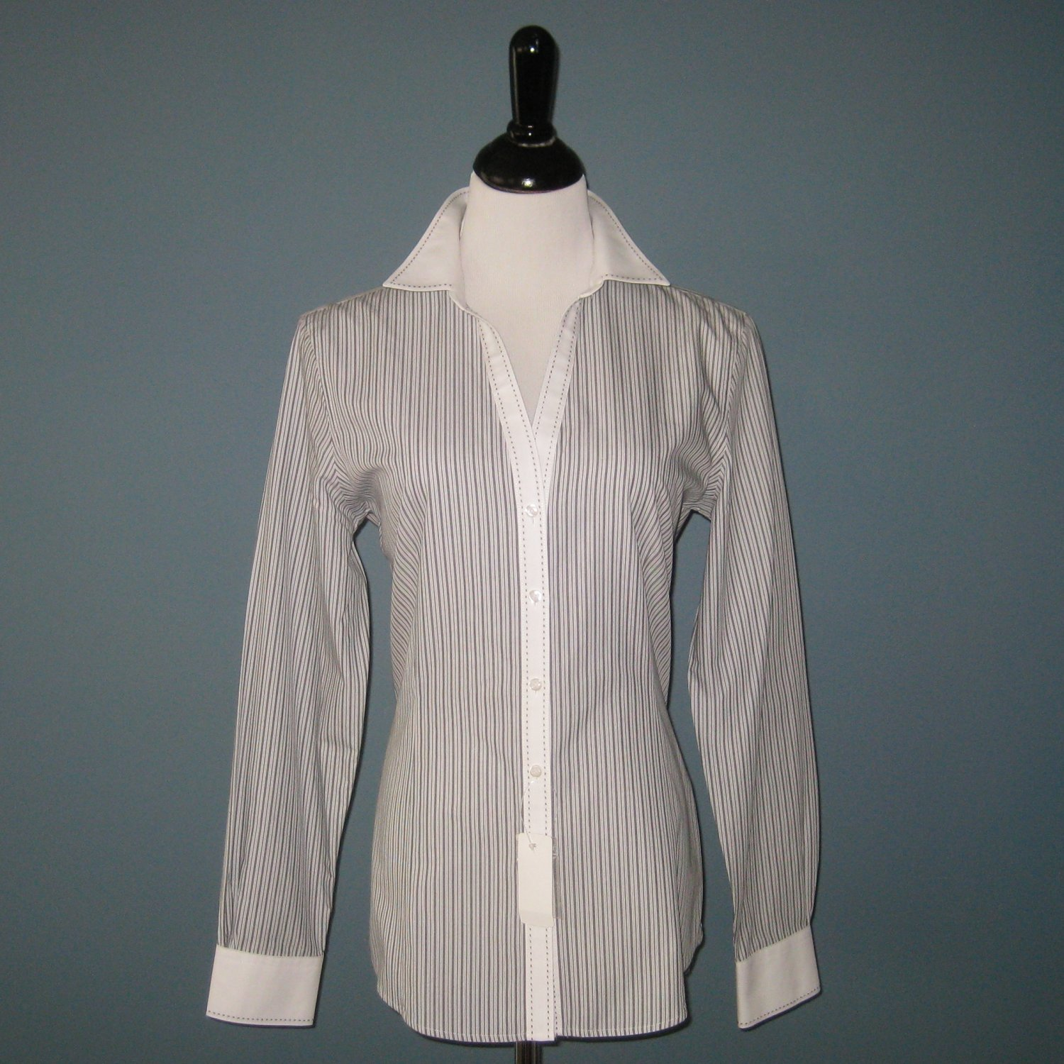 NWT Brooks Brothers White w/Black Stripes L/S Fitted Non-Iron 100% Cotton Shirt Blouse - 10