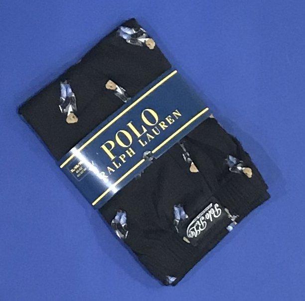 NWT Polo Ralph Lauren Cotton Knit Black Tuxedo Bear Classic Fit Button Front Boxer - M