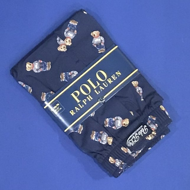NWT Polo Ralph Lauren Navy Blue Preppy 'Polo' Bear Cotton Classic Fit Button Front Boxer - XL