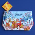 L'Occitane Cosmetic Travel Make-up Case Bag Pouch - Girl w/Floral Bouquets & Presents