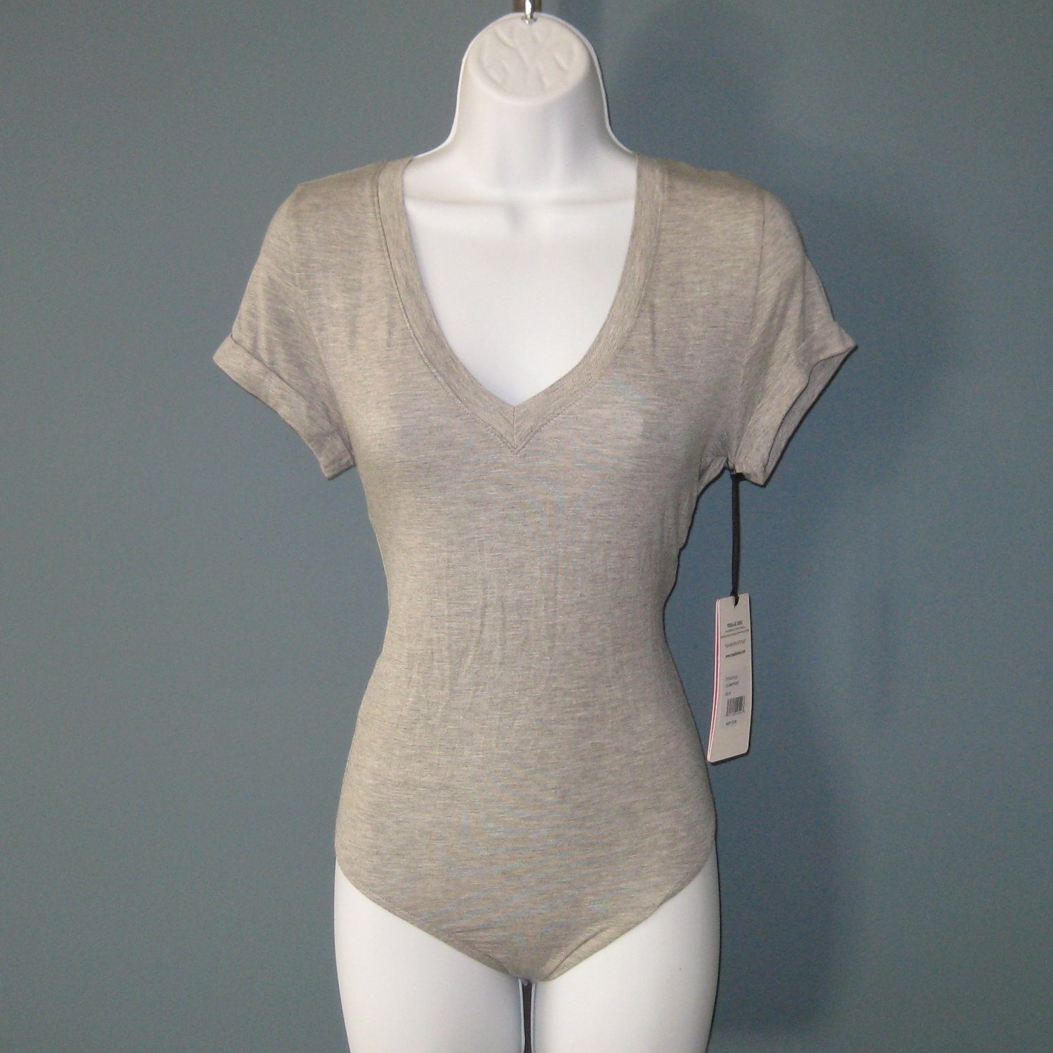 NWT Yogalicious Heather Grey (Gray) Bodysuit #DY5222 - M