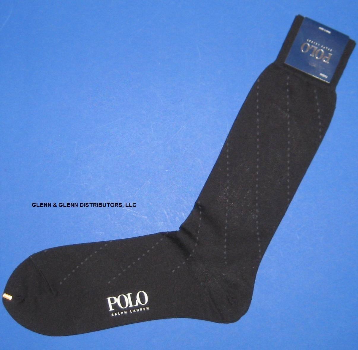 NWT Polo Ralph Lauren Blue Pinstitch Print Cotton Blend Dress Slack Socks