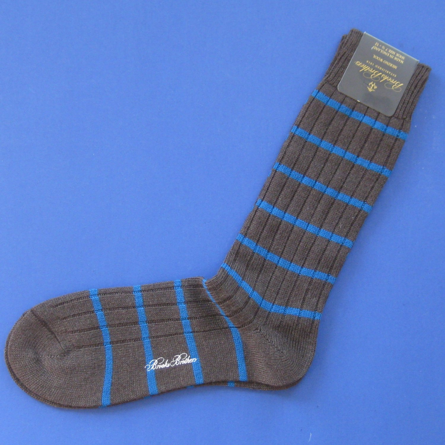NWT Brooks Brothers Brown w/Blue Merino Wool Striped Knit Trouser Dress Socks