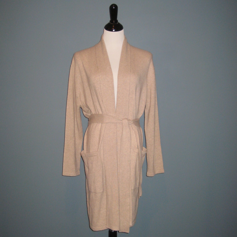 NWT Arlotta 100% Cashmere Beige Shawl Collar Belted Short Robe - M/L