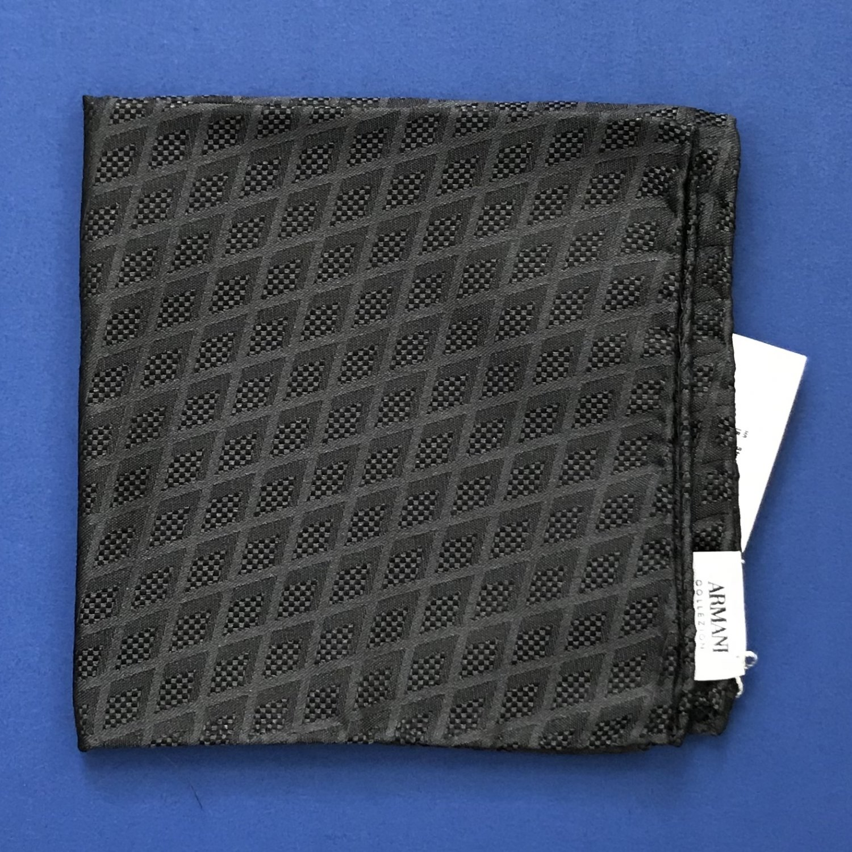 NWT Armani Collezioni Gray Diamonds 100% Silk Handkerchief Pocket Square