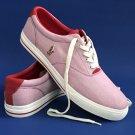 NEW Polo Ralph Lauren Red Fine Stripe Canvas Vaughn Sneakers - 14D