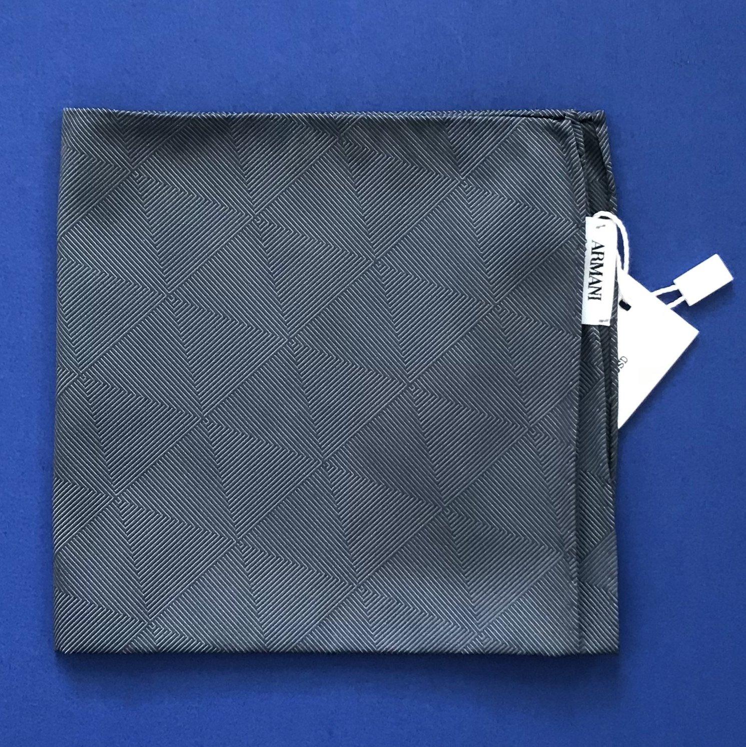 NWT Armani Collezioni Anthracite Gray Silk Blend Handkerchief Pocket Square