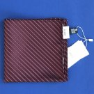 NWT Armani Collezioni Burgundy Stripe 100% Silk Handkerchief Pocket Square