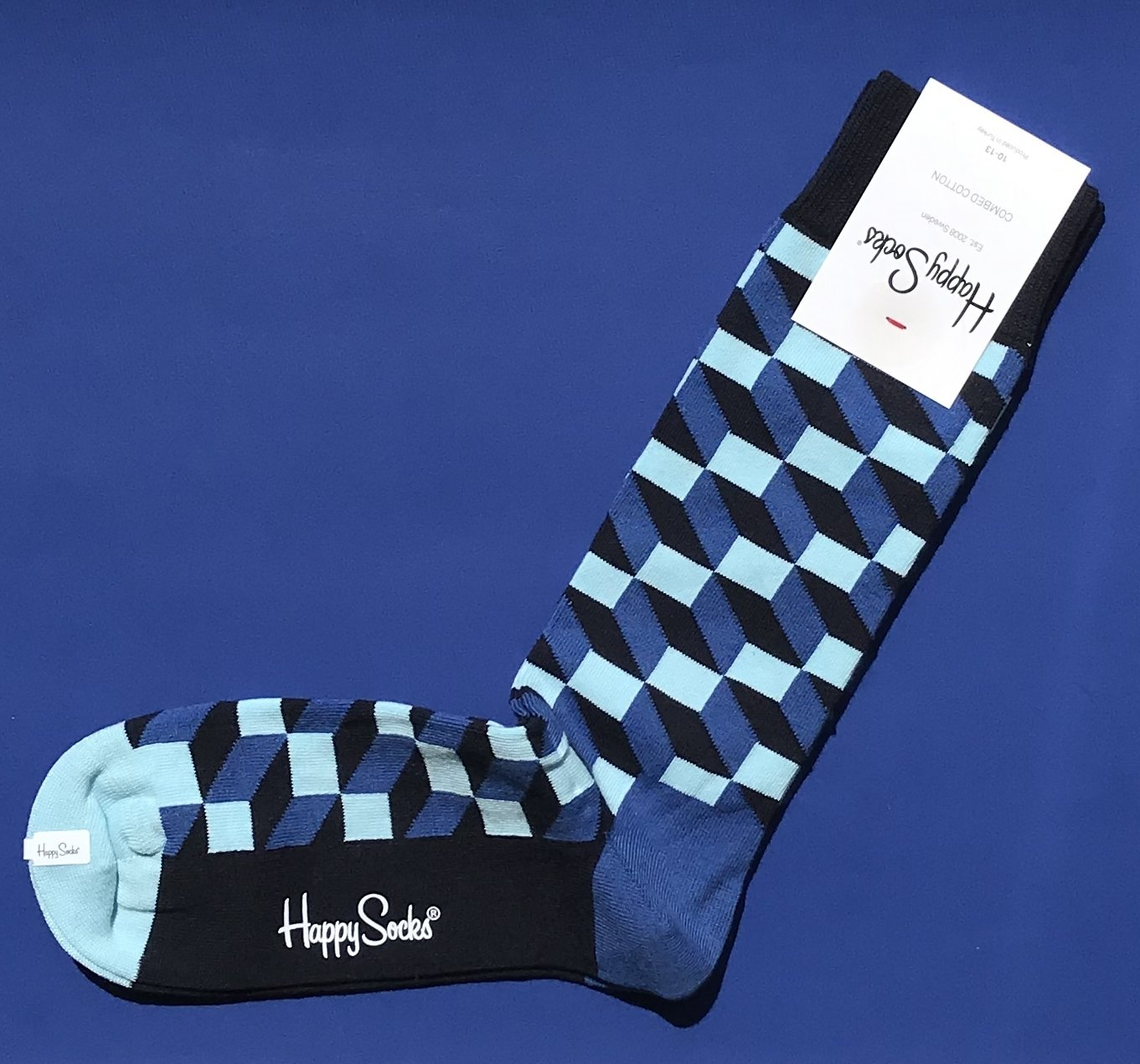 NWT Happy Socks Blue Filled Optic Cotton Socks