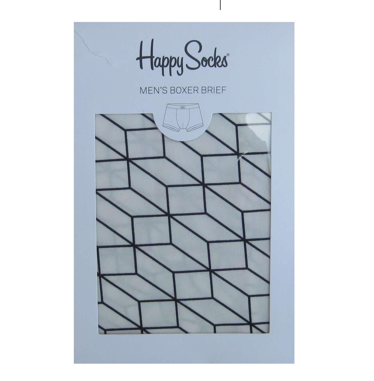 NIB Happy Socks White w/Black Optic Print Cotton Stretch Boxer Brief - L