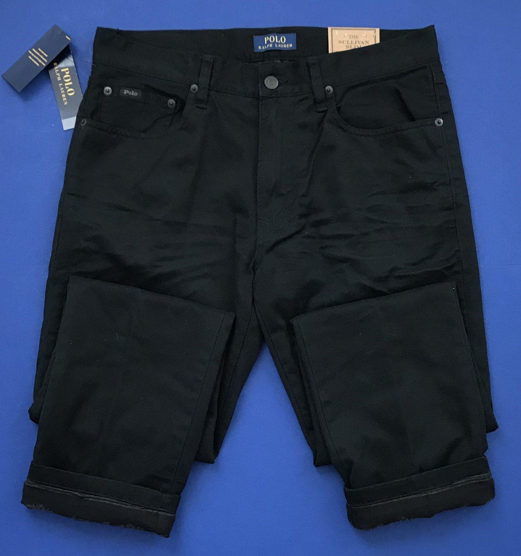 NWT Polo Ralph Lauren Sullivan Slim Black Flannel Lined Jeans 30x30