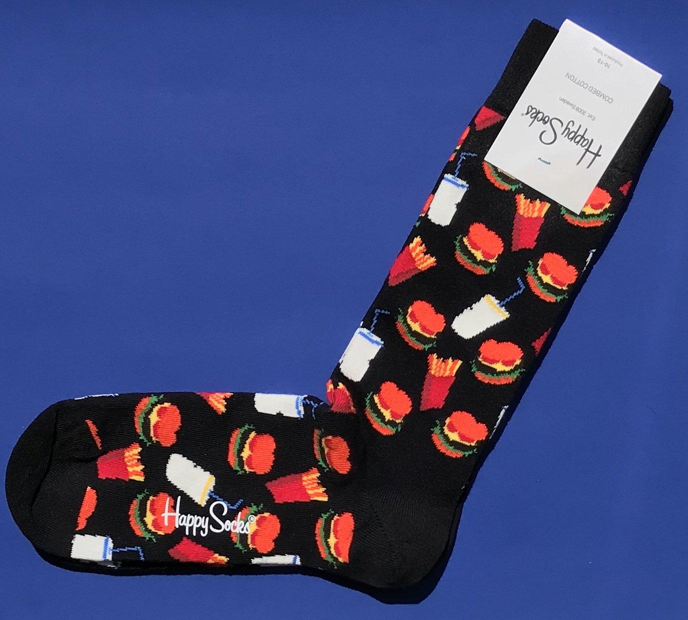 NWT Happy Socks Black w/Burgers Fries Shakes Print Combed Cotton Knit Socks