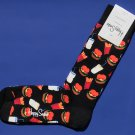 NWT Happy Socks Black w/Burgers Fries Shakes Print Combed Cotton Knit Socks