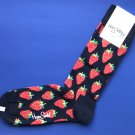 NWT Happy Socks Blue w/Red Strawberries Combed Cotton Knit Socks