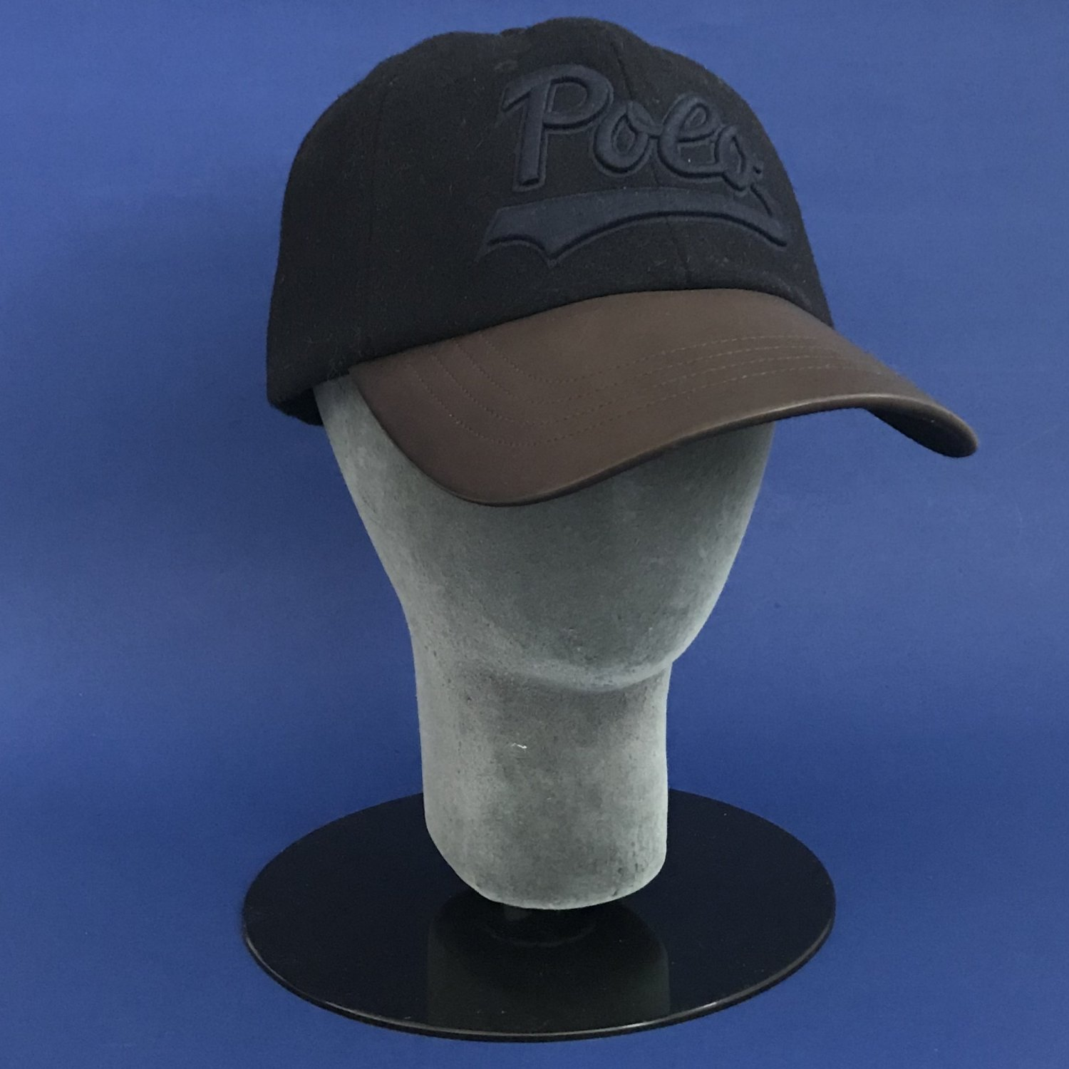 NWT Polo Ralph Lauren Navy Embroidered Wool w/Leather Baseball Cap Hat - O/S