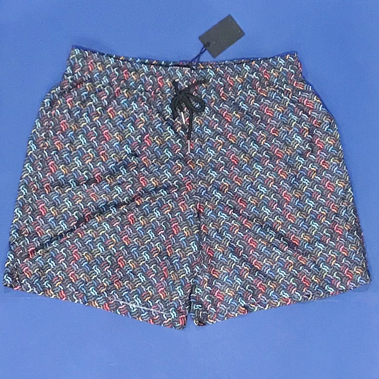NWT Jared Lang Men's Black w/Multi-Colored Mustache Print Swim Trunks - XL