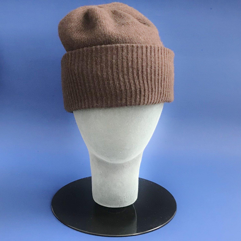 NWT Portolano Brown 100% Cashmere Knit Skull Cap Hat - One Size