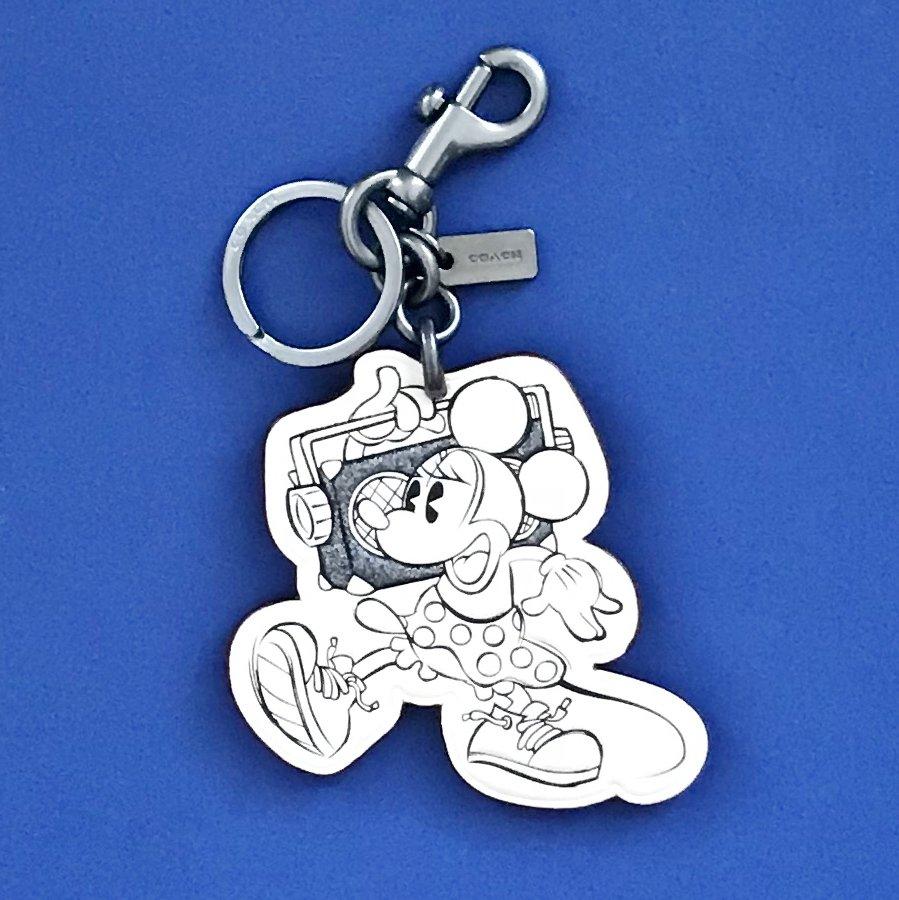 NWT Coach LTD Edition Disney X Minnie Mouse Chalk Leather Key Chain #F27707