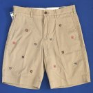 NWT Polo Ralph Lauren Embroidered Crests Tan Classic Fit Flat-front Shorts - 29