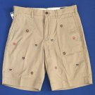 NWT Polo Ralph Lauren Embroidered Crests Tan Classic Fit Flat-front Shorts