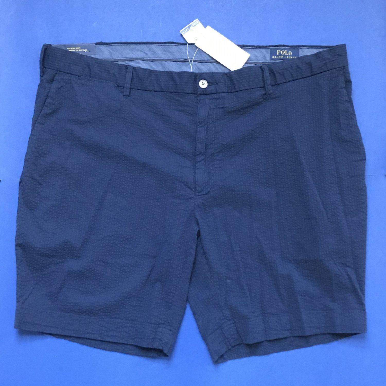 NWT Polo Ralph Lauren Cotton Stretch Blue Seersucker Straight Fit Shorts - 42