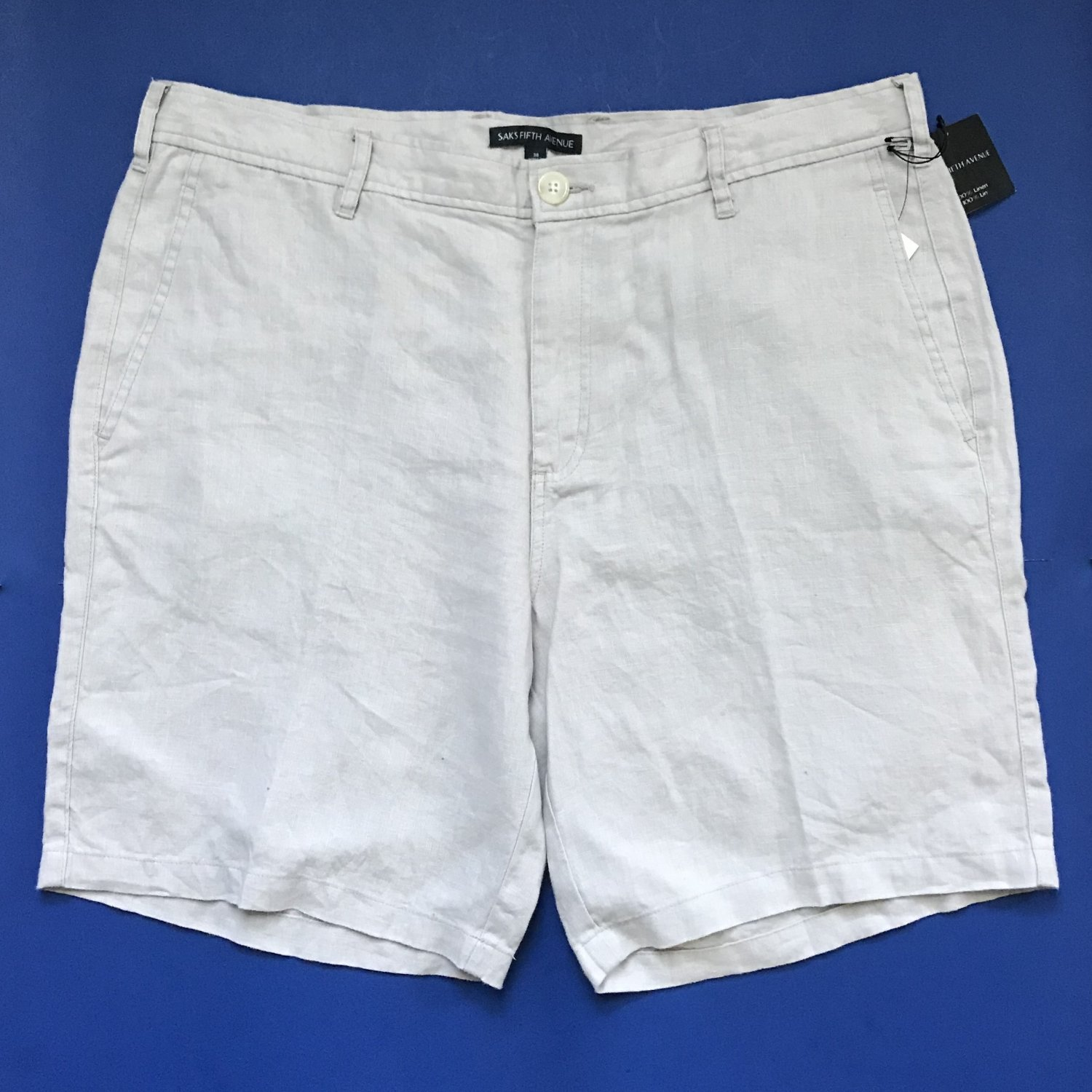 NWT Saks Fifth Avenue Beige 100% Linen Classic Fit Flat Front Shorts - 38