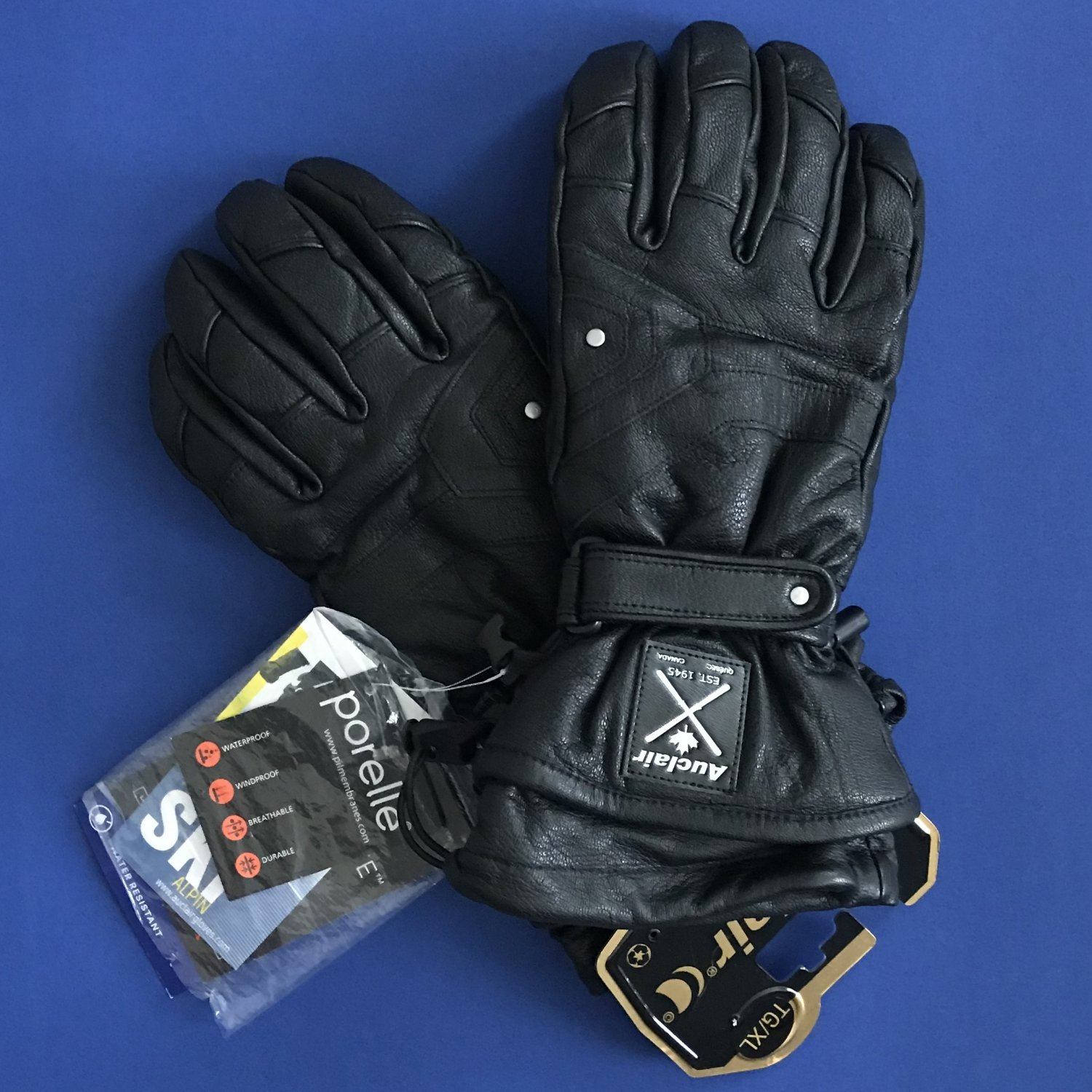 NWT Auclair Black 100% Leather Men's Way Out Ski Gloves - XL